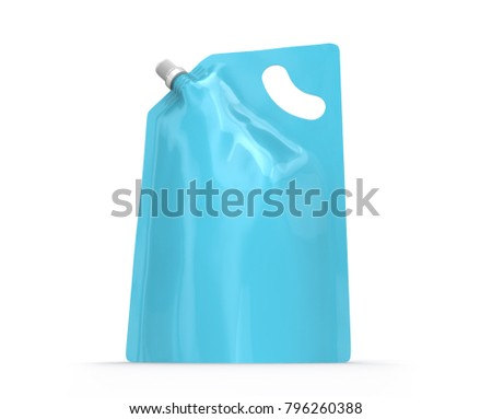 Detergent refill package, 3d render light blue stand-up pouch bag mockup with cap - Shutterstock ID 796260388