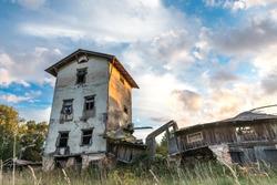 Deteriorated abandoned haunted old house. Dobele, Latvia