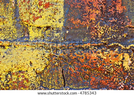 Deteriorating painted brick wall stylized with grunge effects (part of a photo illustration series) #4785343