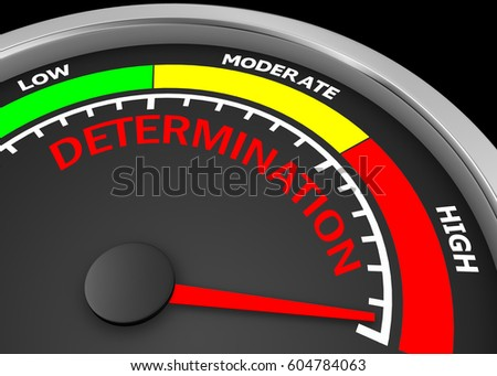 determination level to maximum conceptual meter, 3d rendering