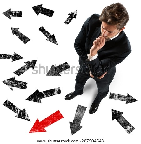 Determined businessman decided which direction to take Foto d'archivio ©