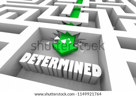 Determined Commited Determination Commitment Maze 3d Illustration