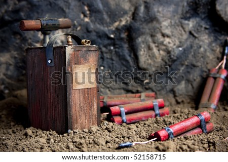 detonating fuse and dynamite on mine