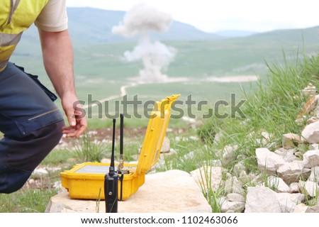 detonator box of yellow color intended for detonating explosives Foto d'archivio ©