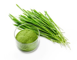 Detox Food Superfood Green Barley Sprout grass and a Glass Bowl of Powder, Flat Lay. Space for Text isolated on whit.