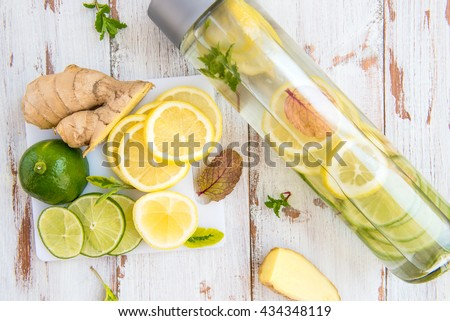 Detox Infused Water with Lemon, Lime, Ginger and Mint in Sports Bottle, with cut pieces of lemon, ginger and lime nearby
