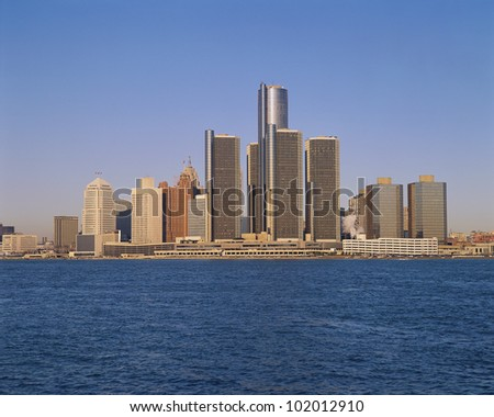 Detroit buildings on the water