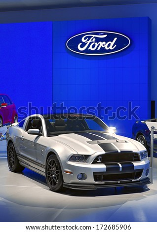 DETROIT - JANUARY 16 : A 2015 Ford Mustang GT500 Cobra on display at the North American International Auto Show media preview  January 16, 2014 in Detroit, Michigan.