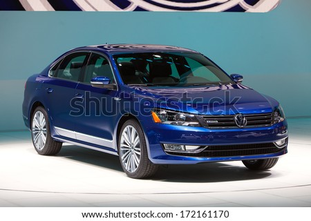 DETROIT - JANUARY 14 : A Volkswagen Passat with Blue Motion on display at the North American International Auto Show media preview  January 14, 2014 in Detroit, Michigan.