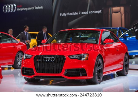 DETROIT JANUARY 13 An Audi RS5 is on display January 13th 2015 at the 2015 North American International Auto Show in Detroit Michigan