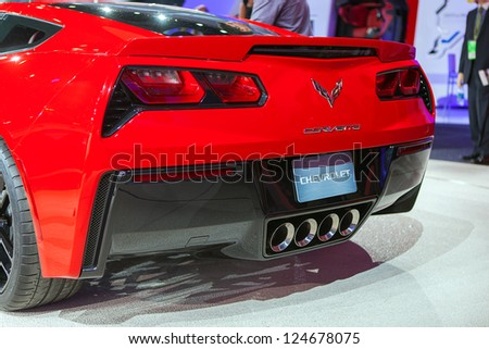 DETROIT - JANUARY14 : Rear view of the new 2014 Corvette Stingray at the NAIAS media preview January 14, 2013 in Detroit, Michigan.