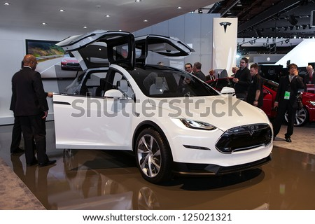 DETROIT - JANUARY 15 : Tesla debuts the Model X at The North American International Auto Show  January 15, 2013 in Detroit, Michigan.