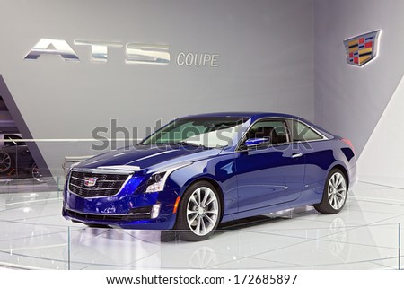 DETROIT - JANUARY 16 : The Cadillac ATS Coupe at the North American International Auto Show media preview  January 16, 2014 in Detroit, Michigan.