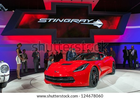 DETROIT - JANUARY 14 : The 2014 Chevrolet Corvette Stingray on display at The North American International Auto Show  January 14, 2013 in Detroit, Michigan. - stock photo