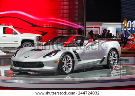 DETROIT JANUARY 15 The Corvette Z06 convertible on display January 13th 2015 at the 2015 North American International Auto Show in Detroit Michigan