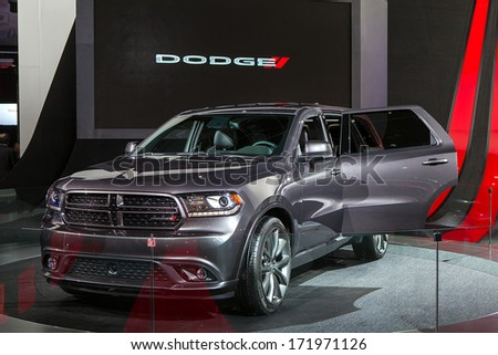 DETROIT - JANUARY 13 : The 2014 Dodge Durango on display at the North American International Auto Show media preview  January 13, 2014 in Detroit, Michigan.
