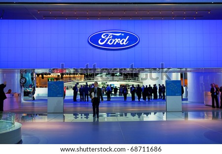 DETROIT - JANUARY 10: The Entrance to the Ford display at the 2011 North American International Auto Show Press Preview on January 10, 2011 in Detroit, Michigan.