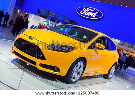 DETROIT - JANUARY 15 : The Ford Focus ST on display at The North American International Auto Show  January 15, 2013 in Detroit, Michigan.