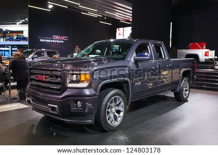 DETROIT - JANUARY 14 : The 2014 GMC Sierra pickup truck on display at The North American International Auto Show  January 14, 2013 in Detroit, Michigan.