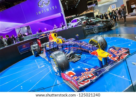 DETROIT - JANUARY 15 : The Infiniti Red Bull F1 race car on display at The North American International Auto Show  January 15, 2013 in Detroit, Michigan.