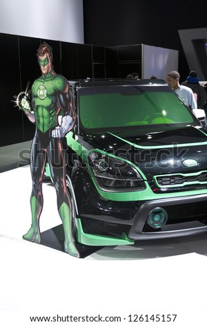 DETROIT - JANUARY 27 :The KIA green hornet concept at The North American International Auto Show January 27, 2013 in Detroit, Michigan.