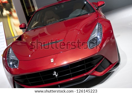 DETROIT - JANUARY 27 :The new 2013 Ferrari F12 Berlinetta at The North American International Auto Show January 27, 2013 in Detroit, Michigan.