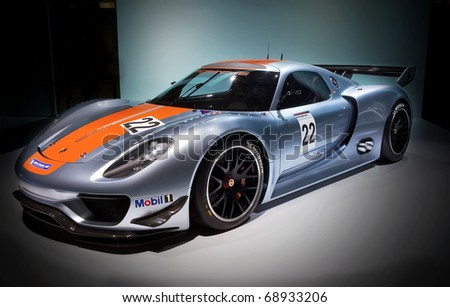 DETROIT - JANUARY 11: The Porsche 918 RSR makes it debut at the 2011 North American International Auto Show Press Preview on January 11, 2011 in Detroit, Michigan.