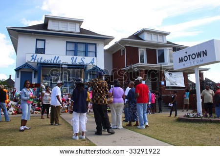 DETROIT-JULY 7: People assemble at Motown's memorial  for Michael Jackson at Hitsville U.S.A., and Motown Museum on July 7, 2009.  The Jackson 5 recorded their early hits at the Motown studio.