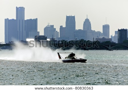 DETROIT - JULY 10th : An unlimited hydroplane races against the skyline at the APBA Gold Cup Race Finals on July 10th, 2011 in Detroit, Michigan.