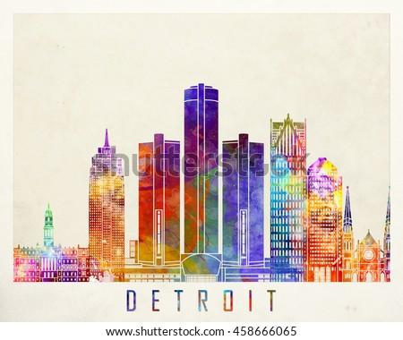 Detroit landmarks watercolor poster