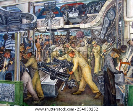 DETROIT, MI - JANUARY 2015: Diego Rivera mural of an automotive assembly line at the Detroit Institute of Arts.