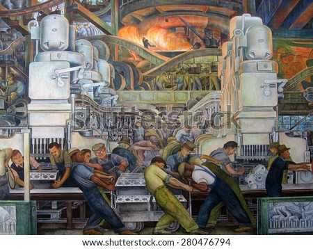 DETROIT, MI - JANUARY, 2015: Diego Rivera mural of an automotive assembly line at the Detroit Institute of Arts.
