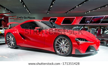 DETROIT, MI/USA - JANUARY 14: The Toyota FT-1 Concept car at the North American International Auto Show (NAIS) on January 14, 2014, in Detroit, Michigan.