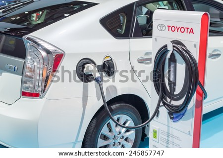 DETROIT, MI/USA - JANUARY 20, 2015: Toyota Prius charge port, connector and cable at the North American International Auto Show (NAIAS), one of the most influential car shows in the world each year.