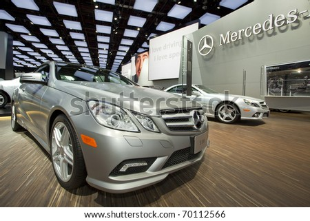 DETROIT, MICHIGAN - JANUARY 18: A new E 550 Mercedes Benz is on display at the 2011 North American International Auto Show on January 18, 2011 in Detroit, Michigan.