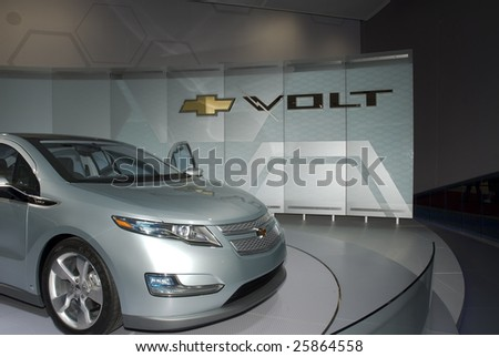 DETROIT, MICHIGAN - JANUARY 25: The Chevrolet Volt as seen at the 2009 North American International Auto Show on Jan. 25, 2009 in Detroit, Michigan. This should be in dealer showrooms by late 2010.