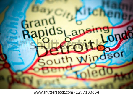 Detroit In Usa Map.Shutterstock Puzzlepix