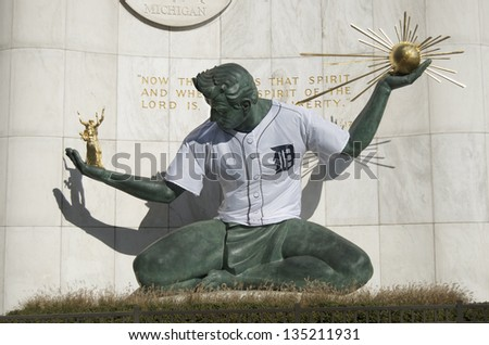 DETROIT - OCTOBER 25 : Spirit of Detroit Statue in downtown Detroit dons a Detroit Tiger baseball jersey as the Detroit Tigers play in the World Series October 25, 2012 in Detroit.