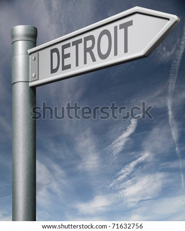 Detroit road sign clipping path isolated arrow pointing towards American city concept travel tourism holiday vacation culture destination route highway in United States of America USA