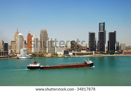 Detroit's downtown and waterfront panoramic view
