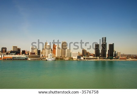 Detroit waterfront and downtown