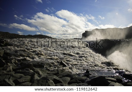 Dettifoss riverbed and waterfall Iceland
