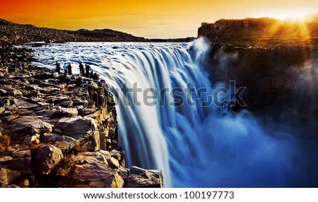 Dettifoss waterfall at sunset, Europe's most powerful waterfall, Iceland