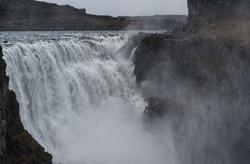 Dettifoss Waterfall in Iceland. Water Spray