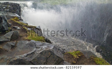 Dettifoss waterfall is the most powerful in Europe, Its width is 100 meters and the height of 44 meters - Iceland