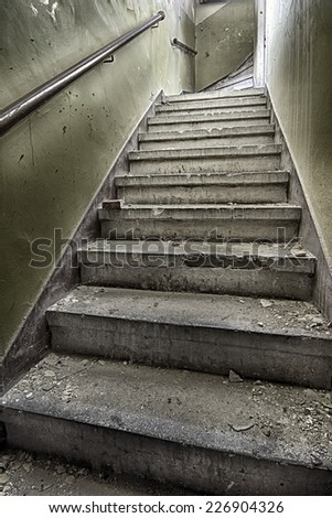 Devastated and destroyed the stairs in the stairwell #226904326