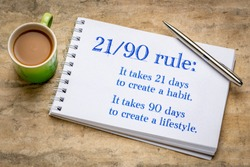 develop habit and lifestyle 21-90 rule - motivational handwriting in a spiral art sketchbook against textured bark paper with a cup of coffee