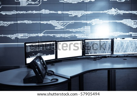 developed electronic technology inside the railway control room #57905494