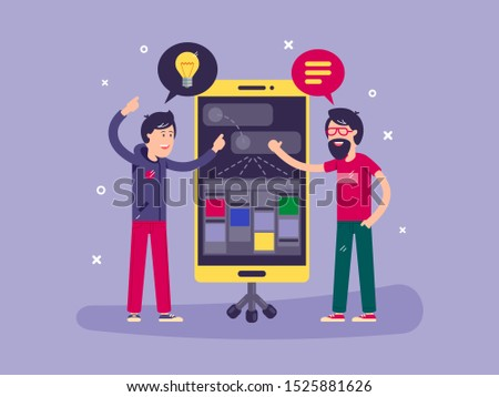 Developers discussed development of project application for smartphone. illustration