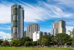 Developing Darwin skyline as new highrise apartment blocks spring up. Northern Territory, Australia.